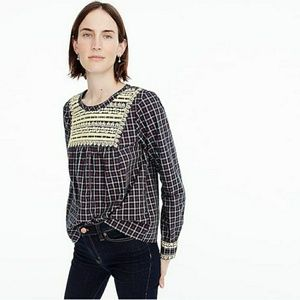 J. Crew Plaid Embroidered Top Size Small